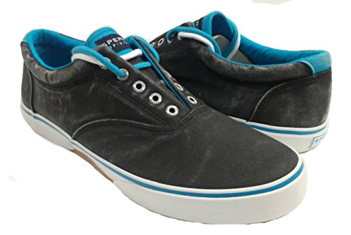 Sperry Top-sider Heren Halyard Veterloze Gewassen Canvas Sneaker Zwart / Blauw