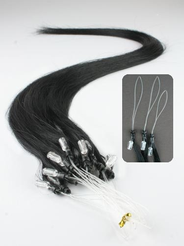 """20"""" #1 Jet Black 20 Strands Remy Micro Loop Bead Ring Hair Extensions for Human or Pet"""