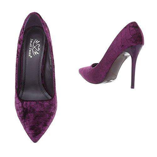 Ital-Design High Heel Pumps Damenschuhe Pfennig-/Stilettoabsatz Heels Lila 5015-111J