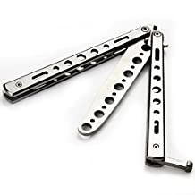 Metal Practice Balisong Butterfly Knife Trainer (Silver, Knife)