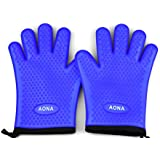 Aona Heat Resistant BBQ Cooking Gloves & Oven Mitts. Insulated Silicone With Protective Lining. Versatile & Waterproof For Grill, Oven, Fire Pit, Campfire & Smoking. 5 Star Rated, Royal Blue