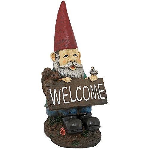 Sunnydaze Garden Gnome William The Welcoming Lawn Statue, Outdoor Yard Ornament, 14 Inch Tall