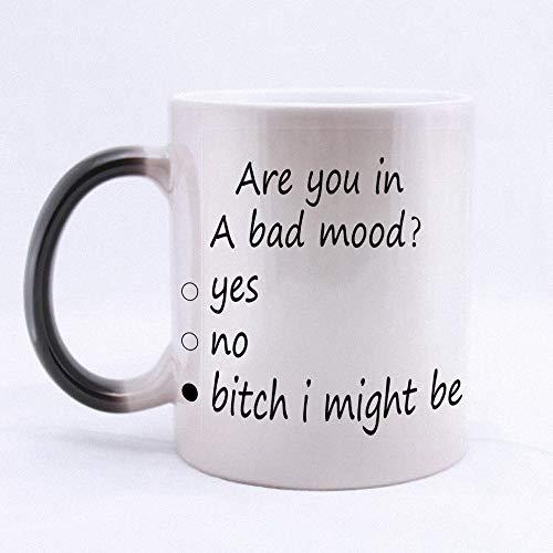 Artsbaba Magic Mug Are You In A Bad Mood Heat Sensitive Coffee/Tea Cup Morphing Mug Ceramic Coffee Mug Color Changing Cup Novelty Family Friends Birthday Gift 11 oz ()