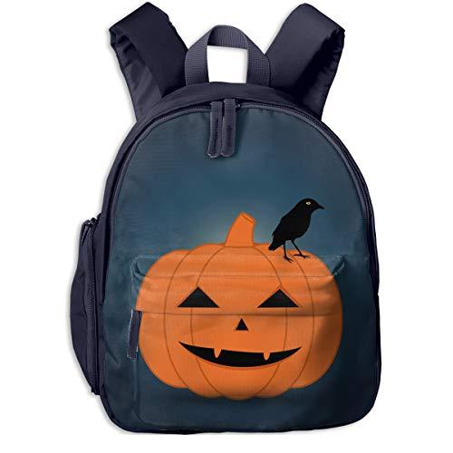 Halloween Pumpkin Print Double Zipper Waterproof Children Schoolbag With Front Pockets For Teens Boys -