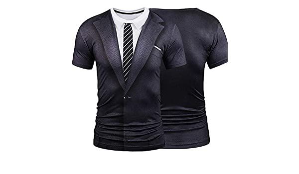 Amazon.com: O-Neck Short Sleeve Casual Soft Tops Crossfit Compression Shirt Funny T 2018 Hot 3D Men Fake Two Pieces Male: Kitchen & Dining