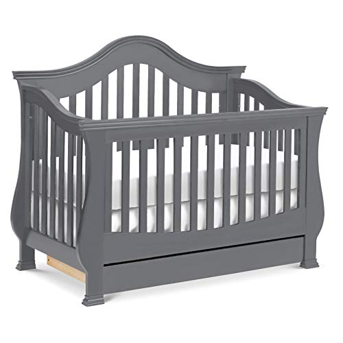 Million Dollar Baby Classic Ashbury 4-in-1 Convertible Crib with Toddler Bed Conversion Kit in Manor Grey, Greenguard Gold Certified