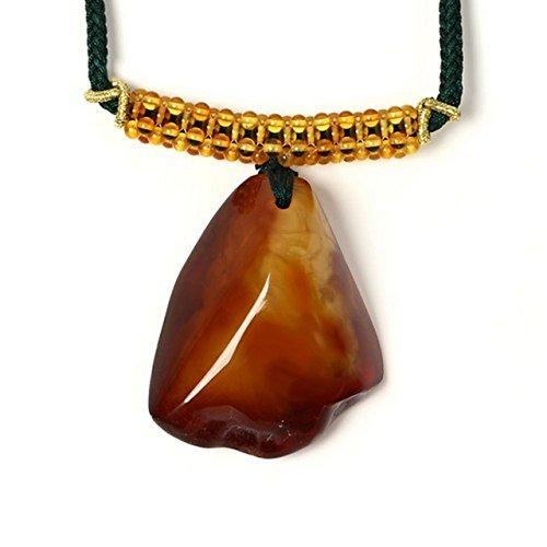 琥珀 ネックレス 組紐 原石風 32-60cm 商品番号 1428
