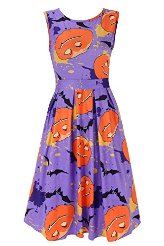 DREAGAL Pumpkin Dress Women's Halloween Theme Bat Classic Design Elegant Swing Dress X-Large