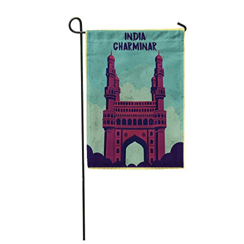 Semtomn Garden Flag 12x18 Inches Print On Two Side Polyester Hyderabad Indian Monument Charminar Andhra India Home Yard Farm Fade Resistant Outdoor House Decor Flag