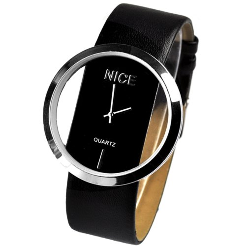 Zeagoo Women's PU Leather Transparent Dial Lady Wrist Watch