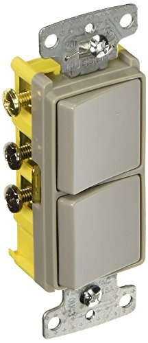 Hubbell Wiring Systems RCD103GY tradeSELECT Single Pole and Three Way Combination Quiet Rocker Switch, 15A, 120-277V AC, Gray (15a Single)