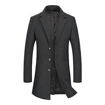 Zeetoo Men's Winter Wool Trench Coat Long Pea Coat with