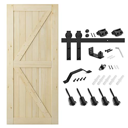 SMARTSTANDARD 36in x 84in Sliding Barn Door with 6.6ft Barn Door Hardware Kit & Handle, Pre-Drilled Ready to Assemble, DIY Unfinished Solid Cypress Wood Panelled Slab, ()