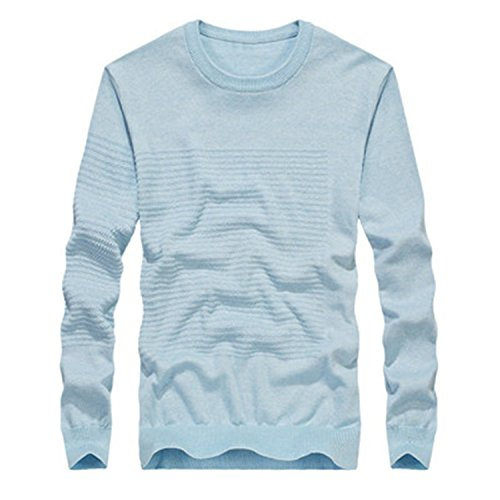 Also Easy New Solid Color Men's Sweater Brand O-Neck Slim Fit Men's Pullovers Knitted Sweater Men BLUE XL by Also Easy Sweater