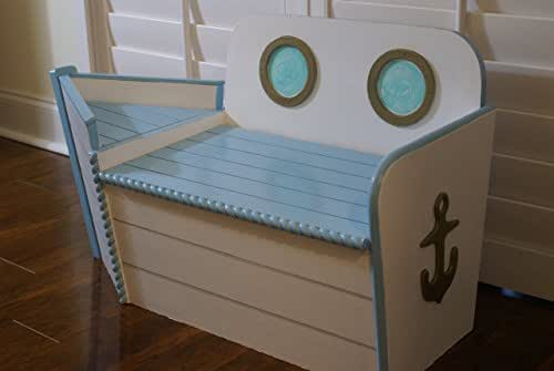 Kids Storage Bench Furniture Toy Box Bedroom Playroom: Amazon.com: Handcrafted Wood Toy Chest With Boat Shape