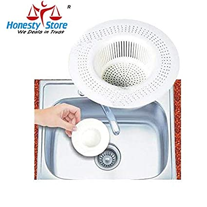 Honestystore Plastic Kitchen Sink Strainer Waste Filter Cup Medium White Pack Of 2