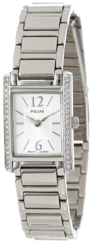 Pulsar Women's PEGC51 Crystal Accented Dress Silver-Tone Stainless Steel - Fashion Womens Pulsar Watch