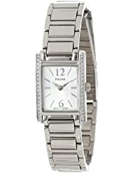 Pulsar Womens PEGC51 Crystal Accented Dress Silver-Tone Stainless Steel Watch