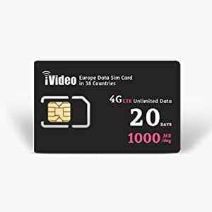 Europe SIM Card Prepaid Unlimited Data 38 Countries 20 Days 1000MB in 4G Speed