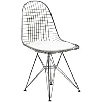 Modway Wire Tower Side Chair with White Vinyl Cushion
