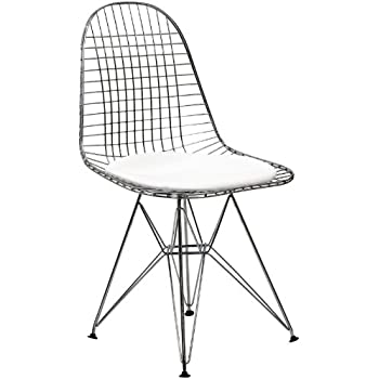 Perfect Modway Wire Tower Side Chair With White Vinyl Cushion