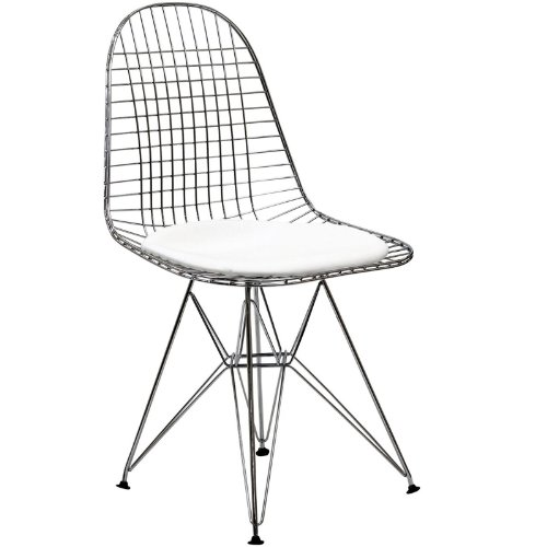 (Modway Tower Mid-Century Modern Wire Dining Chair in White with Faux Leather Seat)