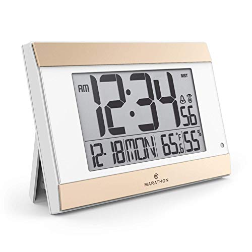 Marathon CL030052WH Atomic Digital Wall Clock with Auto-Night Light, Temperature & Humidity - Batteries Included (White Panel with Gold Trim) (Renewed)