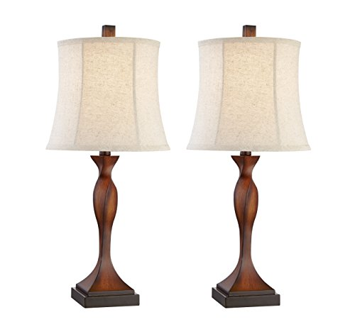 Table Lamp, DILI HOME Vintage Table Lamp Set of 2 Sturdy Plastic Base with Warm White Light Desk ...