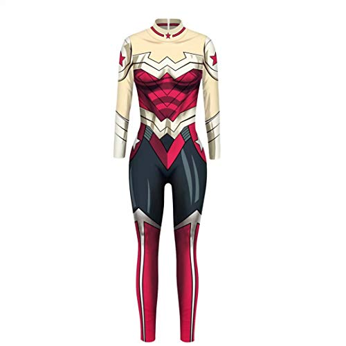 Szytypyl Adult Wowens Wonder Woman Jumpsuit Cosplay Costumes Halloween Bodysuit Outfits