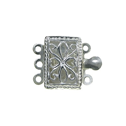 1 pc 925 Sterling Silver Rectangular Filigree Flower Pattern 3 Strands Pearl Box Clasp 15mm Connector Switch / Findings
