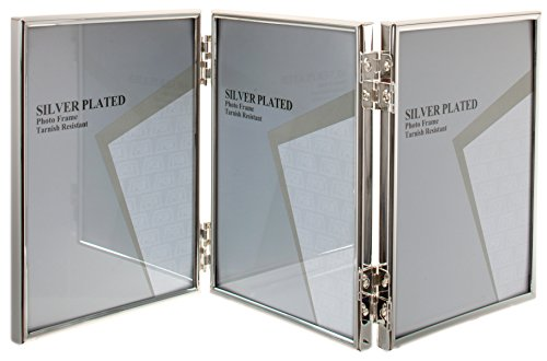 Viceni Silver Plated Thin Edge Hinged Triple Photo Frame, 5 by 7-Inch
