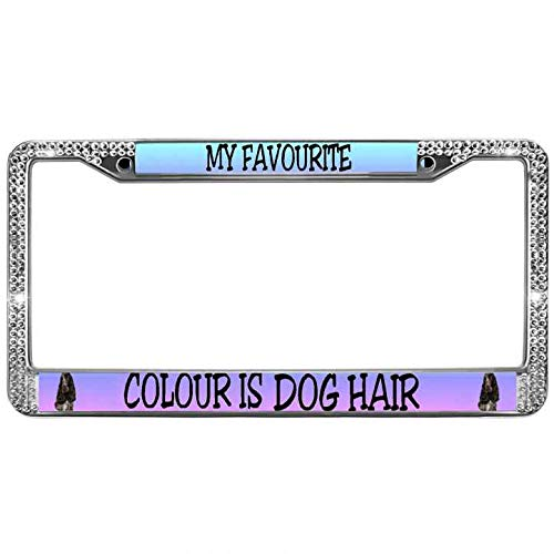(Glitter Rhinestones Cute Dogs Paw Pets License Plate Aluminum Frame My Favorite Color is Dog Hair Bling License Plate Frame Aluminum Auto License Plate Frame)