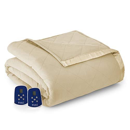Thermee Micro Flannel Electric Blanket, Khaki/Tan, King
