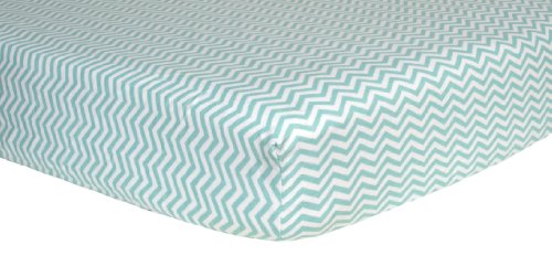 Trend Lab 100% Cotton Chevron Flannel Fitted Crib Sheet, Green/White