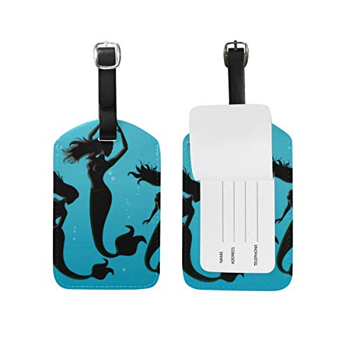 Mermaid Spirit Fish Leather Luggage Baggage Suitcase Tag ID Label for Travel(2Pcs)]()