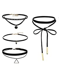 Flongo Womens Girls 4PCS Tassel Leather Rope Choker Necklace, Womens Black Velvet Choker Necklaces with Storage Bag