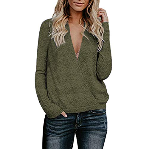 (LISTHA V Neck Sweater Pullover Women Long Sleeve Knitted Blouse Casual Tops)