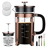 French Press Coffee Maker Veken French Press Coffee Maker (8 cups, 34 oz), 304 Stainless Steel Coffee Press with 4 Filter Screens, Durable Easy Clean Heat Resistant Borosilicate Glass - 100% BPA Free
