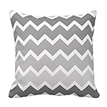 Chevron Pattern - Grey and White Pillow Cases Cover Decorative Square with Zipper 18 X 18 Inches Two Sides