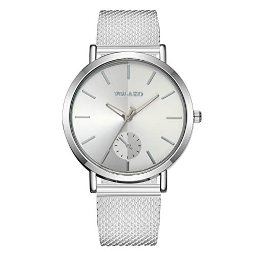 WoCoo Womens Simple Quartz Analog Watch Big Face Dial Wristwatch with Stainless Mesh band Fashion Watches(Fashion Silver,12 Scales)