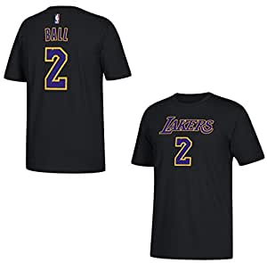buy online 87b0a 5e024 adidas Lonzo Ball Los Angeles Lakers Black Name and Number T-Shirt