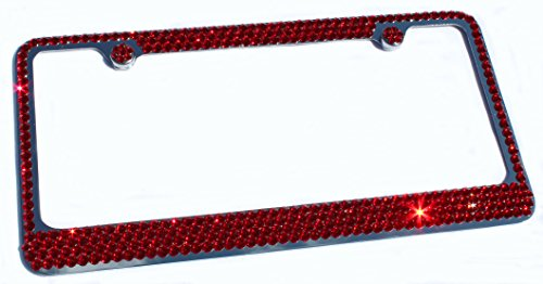 Hotblings 4 Row RED Crystal Made w/Swarovski Elements Metal Sparkle Bling License Plate Frame & Caps Set -  4R_SWRED