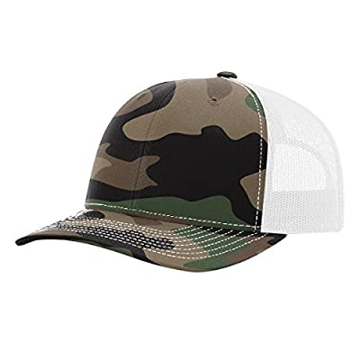 Twill Mesh Back Trucker Snapback Hat -- GREEN CAMO/WHITE