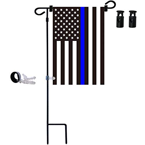 - W&X Garden Flag Stand & American Flag, thin blue line garden flag with Anti-Wind Clip,Stopper,Weatherproof 2 Sided 12x18 Inch Patriotic US Flag Banner Keep Your Flags from Flying Away in High Winds