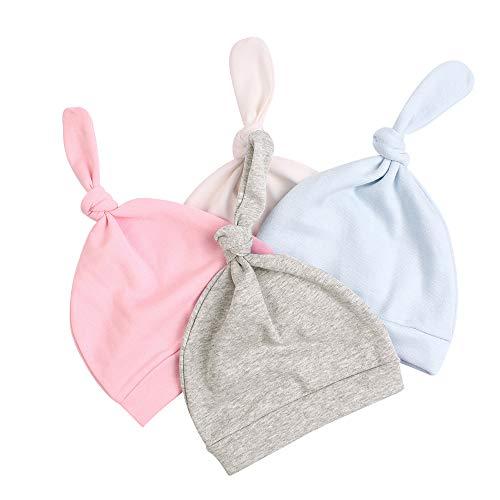 Baby Knot Hat - JANGANNSA Cotton Newborn Baby Beanie Hat Adjustable Knot Newborn Hat for Boys Girls(4-Pack) (B)
