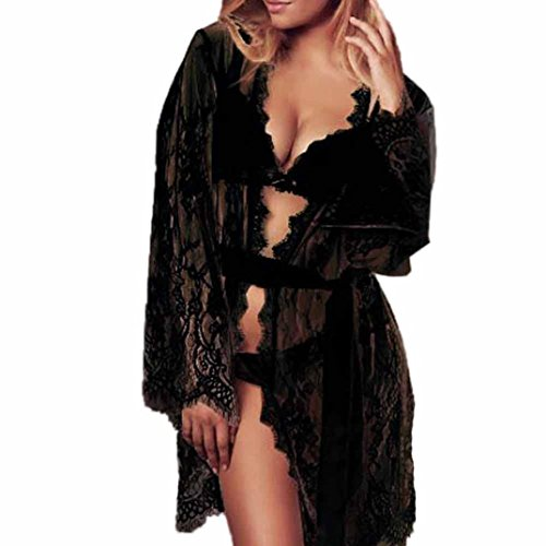 Garter Coat Set (Sumen Women Sexy Lace Pajamas Sleepwear Set Underwear +Coat Hot Sale Home Wear (L, Black))