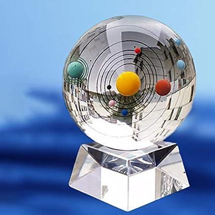 Bola de cristal 3D con modelo de sistema solar y base de lámpara ...