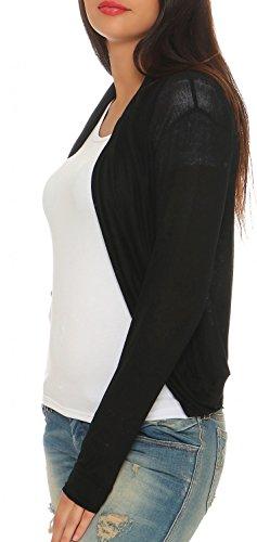 Danaest - Cárdigan - Rebeca - Básico - Sin cuello - Manga Larga - para mujer negro
