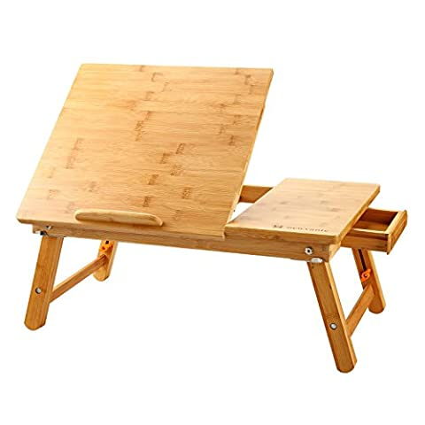 Laptop Desk Nnewvante Table Adjustable 100% Bamboo Foldable Breakfast Serving Bed Tray w' Tilting Top - Bed 5 Drawers