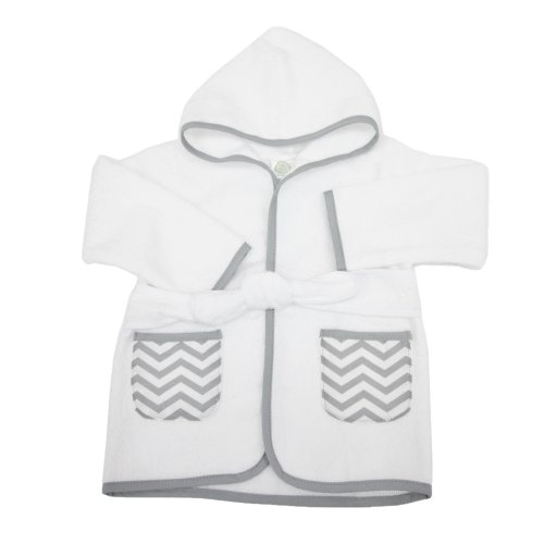 - American Baby Company 0-9 Months Baby Bathrobe made with Organic Cotton, White/Gray